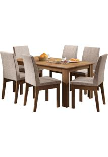 Sala De Jantar Madesa Cibele Mesa Tampo De Madeira Com 6 Cadeiras
