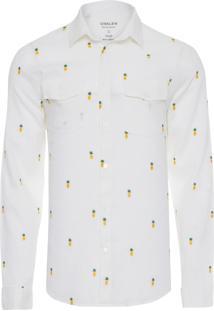 Camisa Masculina Cambraia Abacaxi Pockets - Branco