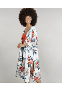 Kimono Feminino Dress To Estampado Floral Branco