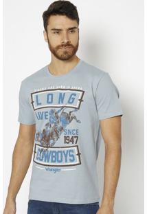 "Camiseta ""Cowboys""- Azul Claro & Marrom- Wranglerwrangler"