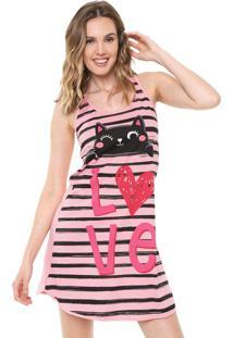 Camisola Malwee Liberta Curta Love Cat Rosa/Preta