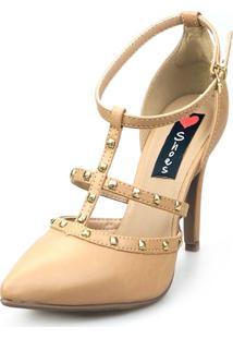 Scarpin Love Shoes Social Bico Fino Salto Alto Tiras Spike Nude