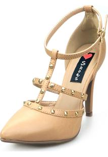 Scarpin Love Shoes Social Bico Fino Salto Alto Tiras Spike - Tricae