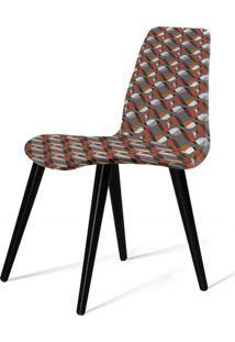 Cadeira Estofada Jacob Estampada Com Pes Palito Preto - 49533 Sun House