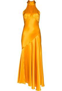 De La Vali Vestido Frente Única Midi 'Vivienne' - Amarelo