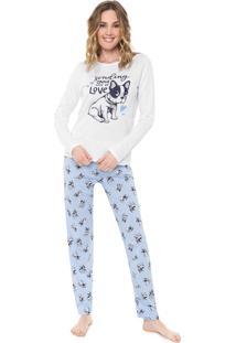 Pijama Malwee Liberta Bulldog Branco/Azul