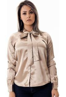 Camisa Pimenta Rosada Da Laço Maud Le - Feminino-Dourado