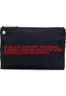 Calvin Klein 205W39Nyc Clutch Com Slogan Bordado - Azul
