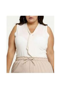 Body Feminino Lurex Plus Size Sem Manga