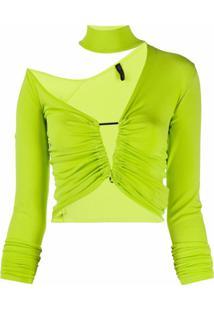 Unravel Project Blusa Assimétrica De Tricô - Verde