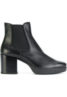 Tod'S Ankle Boot De Couro Com Plataforma - Preto