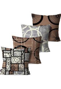 Kit Com 4 Capas Para Almofadas Decorativas Formas Geomã©Tricas E Rodas 45X45Cm - Marrom - Dafiti