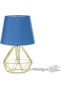 Abajur Diamante Dome Azul Com Aramado Dourado - Azul - Dafiti