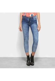 Calça Jeans Skinny Sawary Estonada Cropped Cintura Média Feminina - Feminino-Azul