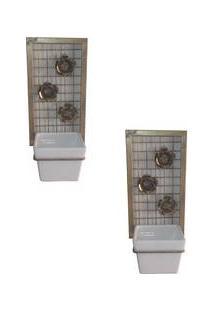 2 Floreiras De Parde C/ Suporte De Ferro E Vaso De Cerâmica Branco Decorativo - Arte Tempo