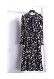 Vestido Madrid Vintage - Azul Escuro Com Flores