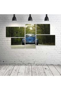Quadro Decorativo - Vintage-Blue-Car - Composto De 5 Quadros - Multicolorido - Dafiti