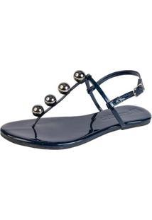Sandália Rasteira Feminina Mercedita Shoes Verniz Fivela - Feminino