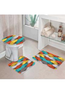 Jogo Tapetes Para Banheiro Geométrico 3D - Único
