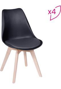 Jogo De Cadeiras Eames Modesti- Preto & Bege- 4Pã§S