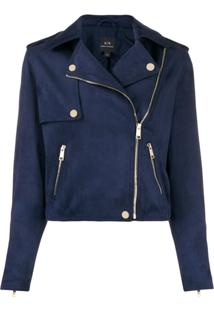 Armani Exchange Short Biker Jacket - Azul