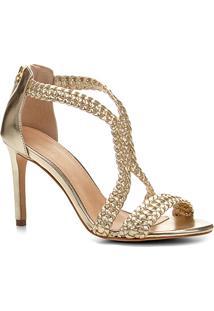 Sandália Shoestock Salto Fino Macramê Feminina - Feminino-Dourado