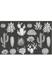 Tapete Transfer Cactos- Branco & Preto- 60X40Cm-Tapetes Junior