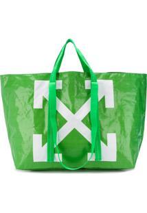 Off-White Bolsa Tote Oversized Com Estampa De Flechas - Verde