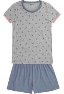 Pijama Feminino Em Malha De Algodão Com Estampa