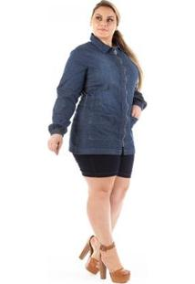 Parka Jeans Confidencial Com Zíper E Bolso Plus Size Feminina - Feminino-Azul