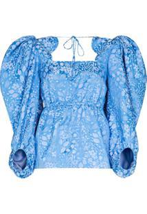 Rosie Assoulin Blusa Jacquard De Seda Floral Madame Butterfly - Azul