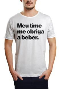 Camiseta Hunter Meu Time Me Obriga A Beber Branca
