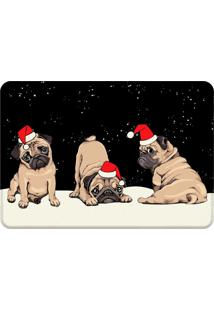 Tapete Sala Love Decor Pug Natalino Preto