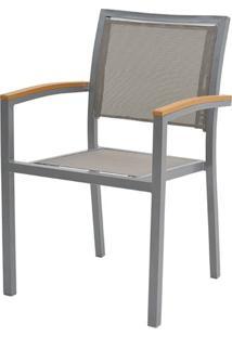 Cadeira Flex Com Bracos Tela Cinza Base Cinza - 38687 - Sun House