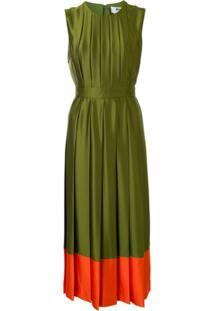 Msgm Vestido De Cetim Com Acabamento Contrastante - Verde