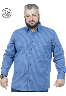 Camisa Plus Size Bigshirts Manga Longa Listra Azul