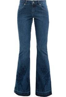 f41dae611 Amissima. Calça Flare Zíper Alfaiataria Tiracolo Feminina Azul Algodão Jeans  Garden
