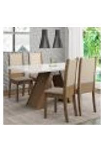 Conjunto Sala De Jantar Madesa Dafne Mesa Tampo De Vidro Com 4 Cadeiras - Rustic/Branco/Crema/Bege