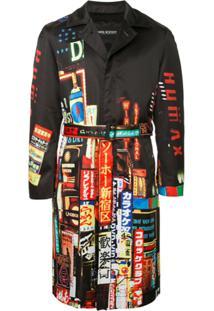 """Neil Barrett """"Shinjuku-Soho"""" Print Trench Coat - Preto"""
