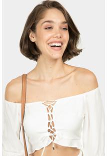 Blusa Cropped Ciganinha Branco Off White - Lez A Lez