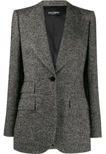 Dolce & Gabbana Blazer Com Padronagem Trançada - Preto