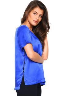 Camiseta Seda Tufi Duek Lisa Azul
