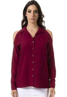 Camisa Bloom Lisa Com Ombros Vazados Feminina - Feminino-Vermelho Escuro