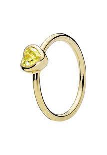 Anel Coração Ensolarado- Dourado- Tamanho 58 = 18