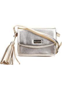 Bolsa Couro Shoestock Crossbody Mini Feminina - Feminino-Dourado
