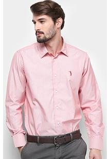 Camisa Manga Longa Aleatory Slim Fit Micro Listras Masculina - Masculino-Vermelho+Branco