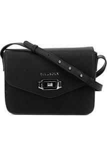 Bolsa Ellus Flap Crossbody Bag Military Feminina - Feminino-Preto