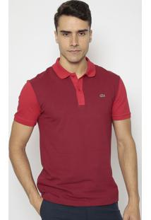 Polo Slim Fit Bicolor- Bordô & Vermelholacoste