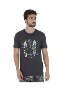 Camiseta Rusty Bc Crucify - Masculina - Preto Mescla