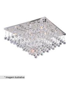 Plafon Quadrado- Cristal & Prateado- 37X60X60Cm-Hevvy